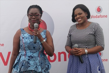 Communications Minister Ursula Owusu-Ekuful and Vodafone Ghana CEO Yolanda Cuba