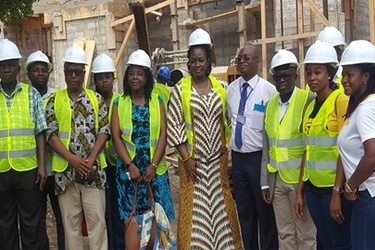 Executive Director of MTN Ghana Foundation Cynthia Lumor with officials of the Tema General Hospital