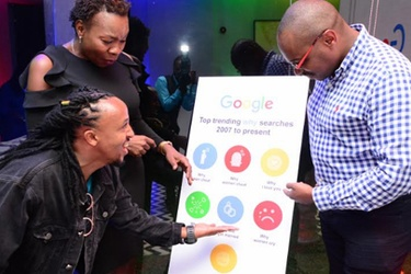 Google Kenya's country manager Charles Murito (Right) and PR Lead Dorothy Ooko, with musician Anto Neo Soul