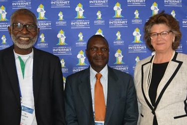 AfNOG convenor Dr Nii Quaynor, Biztechafrica's John Churu and ISOC's Kathy Brown