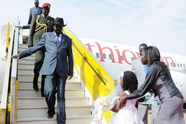 South Sudanese president Salva Kiir arrives at Entebbe airport for the International Conference on the Great Lakes Region summit