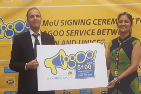 Chief Marketing Officer for MTN Ghana Asher Khan and UNICEF Ghana Representative, Rushnan Murtaza