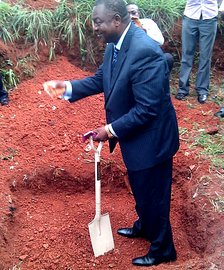University of Nigeria Nsukka. VC Prof. Batu breaking ground for the campus WiFi towers