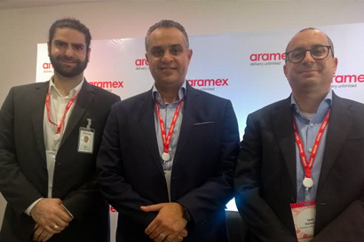 Aramex Delivery Services Ltd MD Faisal Jarmakani, Aramex International CEO Hussein Hachem and COO Iyad Kamal