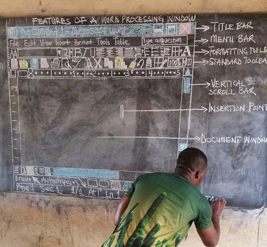 Ghanaian teacher using sketched word processing screen goes viral