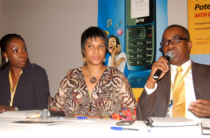 MTN GM Corporate Affairs Funmi Omogbenigun; CTO Mrs. Lynda Saint-Nwafor; and Corporate Services Executive Akinwale Goodluck