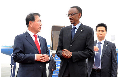 Rwandan President Paul Kagame arrives in South Korea