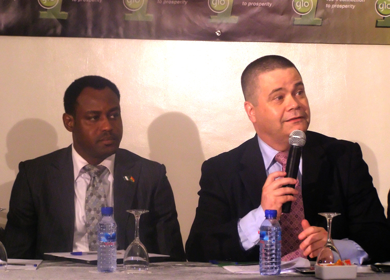 Benedicto Akpene and Mike Foley, Programme Director, Glo Ghana, at the launch of Glo 1 in Ghana