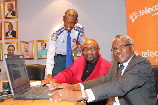 Telecom Namibia MD Frans Ndoroma, the CEO of the City of Windhoek Niilo Taapopi (middle) and City Police Chief Abraham Kanime