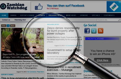 Zambia warns online publications