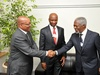 President Jacob Zuma at talks with former UN Secretary General Kofi Annan at the WEF held in Cape Town last month