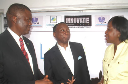 Demola Aladekomo of Chams Plc, Tomi Davies, of Technovision Communication, and Funke Opeke of Main One Cable Limited