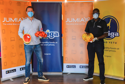 Jumia Kenya CEO Sam Chappatte and Twiga Foods CEO Peter Njonjo