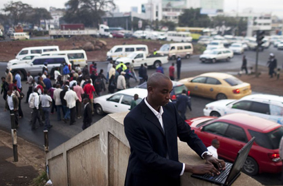IBM business consultant Shadrack Kioko captures data on road conditions and traffic congestion in Nairobi