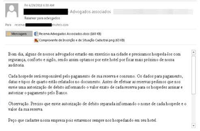A phishing email sent to a hotel impersonating a booking request from an attorney's office