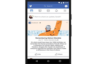 Facebook Celebrates Centenary of Nelson Mandela's Birth by Inspiring Global Community to Take Action