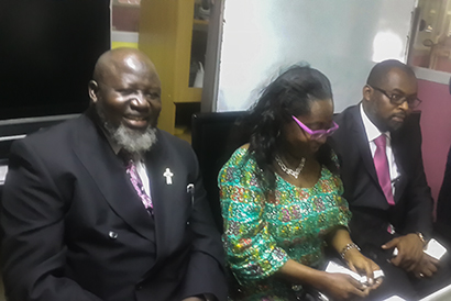 Minister Alhaji Adebayo Shittu, Omatek CEO Florence Seriki and an aide to the minister