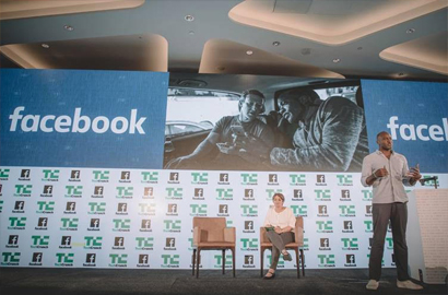 Ime Archibong, VP of Product Partnerships at Facebook on stage at TechCrunch Startup Battlefield Africa 2017